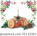 수채화로 그린 크리스마스 케이크 / 붓 슈드 노엘 35110361