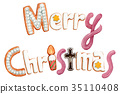 Merry Christmas lettering cookie painted by watercolor 35110408