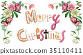Merry Christmas lettering cookie painted by watercolor 35110411