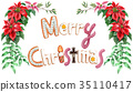 Merry Christmas lettering cookie painted by watercolor 35110417