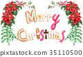 สุขสันต์วันคริสต์มาสตัวอักษรคุกกี้วาดโดยสีน้ำ 35110500