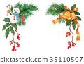 수채화로 그린 크리스마스 장식 35110507