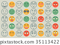 Set of outline and colorful emoticons, emoji 35113422
