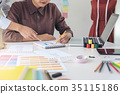 Two professional stylish fashion designer working as fashion des 35115186