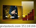 businessman showing digital graph 35116166