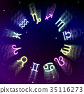 Astrology zodiac signs wheel with twelve colorful 35116273