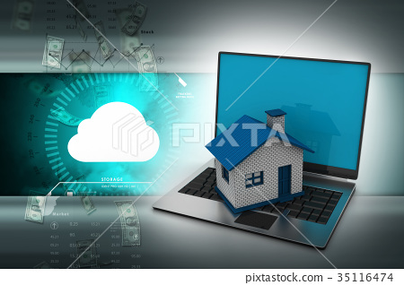 Real estate concept with laptop 35116474