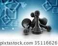 black pawn isolated 35116626