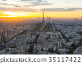 Cityscape skyline with Eiffel Tower in Paris 35117422