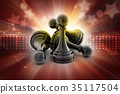 black pawn isolated on colour 35117504