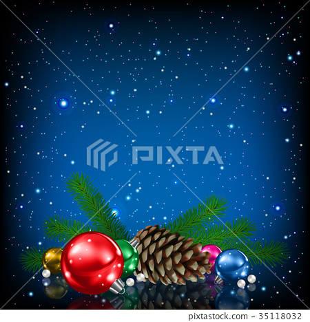 Christmas greeting with Christmas decorations 35118032