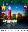 Christmas greeting with panorama of city 35118040