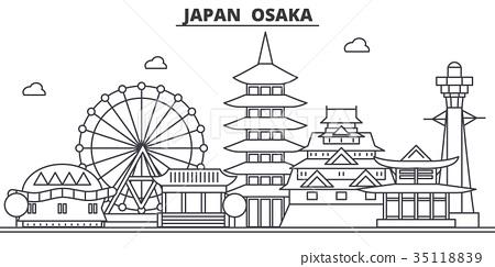 Japan, Osaka architecture line skyline 35118839