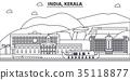 India, Kerala architecture line skyline 35118877