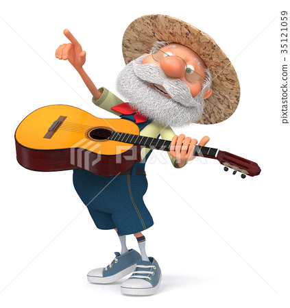 3d illustration funny farmer with a guitar 35121059