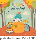 Hello autumn background with cute animals 35121705