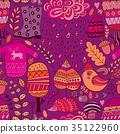 Vector seamless pattern, doodling autumn design. 35122960