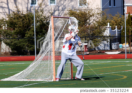 Lacrosse goalie ready to make a save 35123224