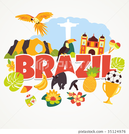 Tourist background welcome to Brazil with elements 35124976