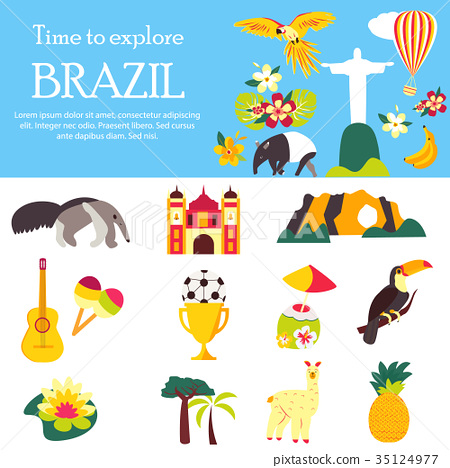 Tourist background welcome to Brazil with elements 35124977