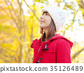 여성 단풍 미소 35126489