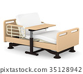 개호 침대와 테이블 안락 3D 일러스트 35128942