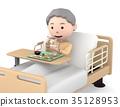 입원 중 식사를하는 노인 여성 35128953