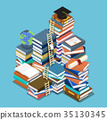 Businessman climbing ladder to graduation cap. 35130345