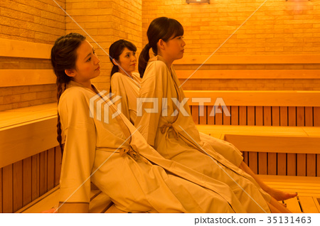 Sauna bathing woman 35131463