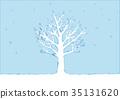 冬天樹的例證 35131620