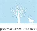 冬天樹和馴鹿的例證 35131635