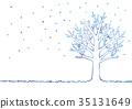冬天樹的例證 35131649