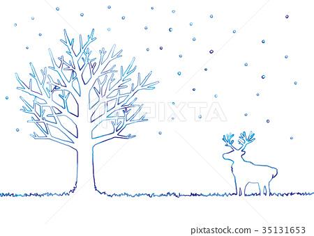 겨울 나무와 순록의 일러스트 35131653