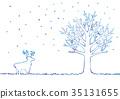 ภาพประกอบของฤดูหนาวและกวางเรนเดียร์ 35131655