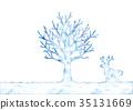 冬天樹和馴鹿的例證 35131669