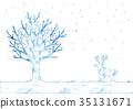 冬天樹和馴鹿的例證 35131671