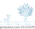 순록, 수채화, 나무 35131676