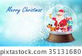 Christmas Card Vector. Snow Globe, Santa Claus 35131680