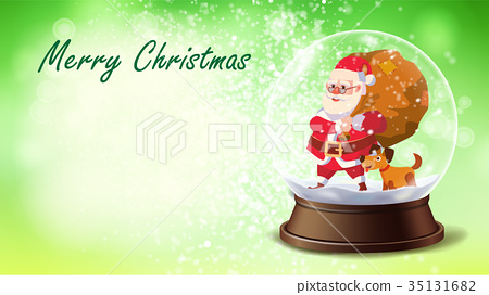 Christmas Card Vector. Snow Globe, Santa Claus 35131682