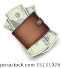 Full Wallet Vector. Brown Color.  35131926