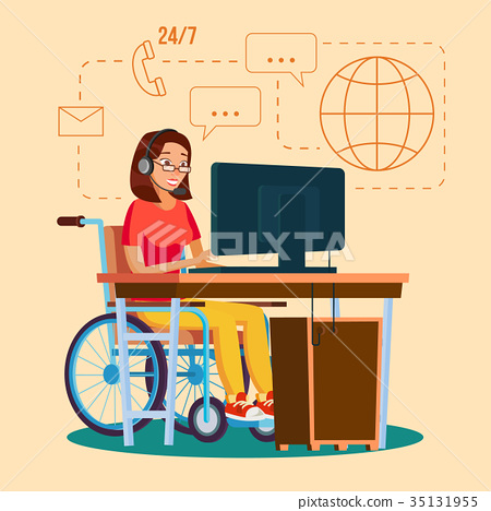 Disabled Woman Working Vector.  35131955