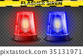 Red And Blue Flasher Siren Vector. 3D Realistic  35131971
