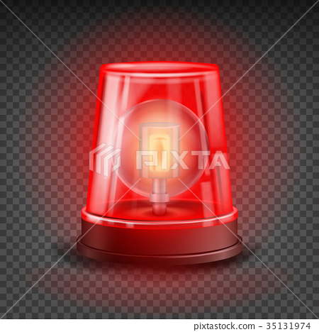 Red Flasher Siren Vector. Realistic Object. 35131974