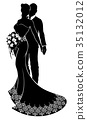 wedding, silhouette, couple 35132012