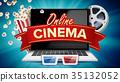 online, laptop, vector 35132052