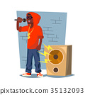Professional Rapper Vector. Male Singer 35132093