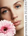 woman, beautiful, flower 35133407