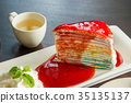 Tasty cake rainbow on wood table , layer cake  35135137