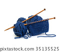 Wool yarn blue colors and wooden needles 35135525