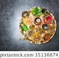 Golden tea table decoration Arabic traditional  35136674